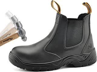 SAFETOE Men's Work Safety Boots Steel Toe Cap Adult's Dealer Leather Chelsea Boot