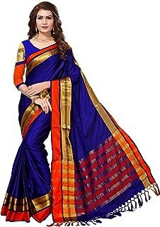 bdfce721c2 SAREE MALL Women'S Cotton Silk Saree With Blouse Piece (Blue_Free Size )