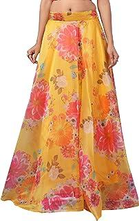 STUDIO Shringaar Women's Orange Organza Floral Printed Fully Stitched Skirt Lehenga