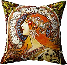 Shorping Zippered Pillow Covers Pillowcases 18X18 Inch alphonse mucha la plume zodiac art nouveau vintage Decorative Throw Pillow Cover ,Pillow Cases Cushion Cover for Home Sofa Bedding