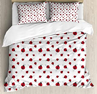 Ambesonne Ladybugs Duvet Cover Set, Ladybug with Dotted Wings Swirls and Curves Pattern Animal, Decorative 3 Piece Bedding Set with 2 Pillow Shams, Queen Size, White Black