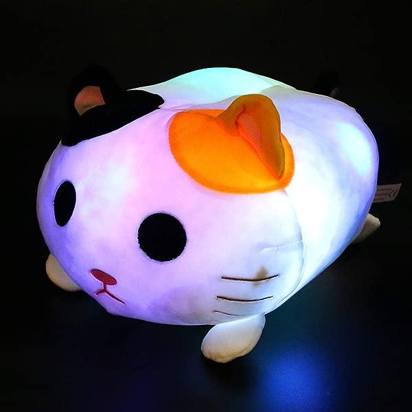 Houwsbaby Light Up Cat Stuffed Animal LED Kitten Glow In Dark Plush Pillow Colorful Nightlight Pal Floppy Soft Cushion Gift For Kids 14 Inches White