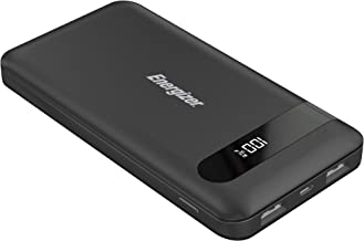 Energizer HIGH TECH Fast Charging, High Capacity 10000mAh Lithium Polymer, 2 USB-A Ports, Universal Power Bank w/ LCD Digital Screen for iPhone, Samsung, and More UE10036