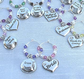 Personalised Wedding Wine Glass Charms Favours Deep Pink Bride - Heart - DIY