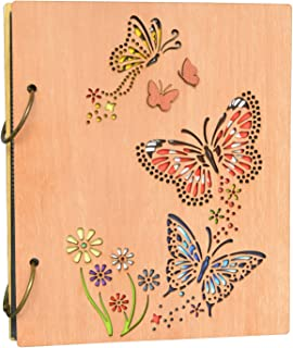 PETAFLOP Photo Album 4 x 6 Butterfly and Flowers Design 120 Photos Wooden Cover Photo Book
