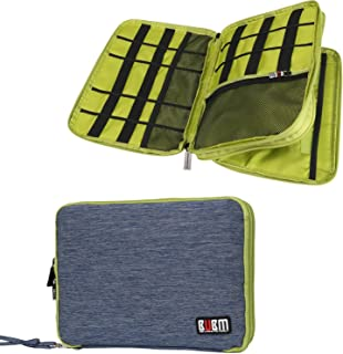 Travel Organizer, BUBM Universal Double Layer Travel Gear Organizer Storage case/Electronics Accessories Bag/Large Cable Organizer Bag/Battery Carrying Case- Blue and Green