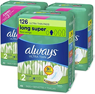 Sponsored Ad - Always Ultra Thin Feminine Pads with Wings for Women, Super Absorbency, Unscented, Size 2 (126 Count)