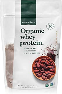 Natural Force Grass Fed Organic Whey Protein Powder, 15.2 oz, Chocolate Flavor