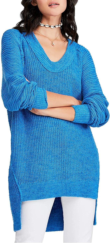 Free People Womens Sunday Scoop Oversized Hi-Low Tunic Sweater