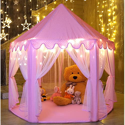 WilWolfer Girls Play Tent Hexagon Princess Castle House Palace Tents Kids Playhouse With Star Light For