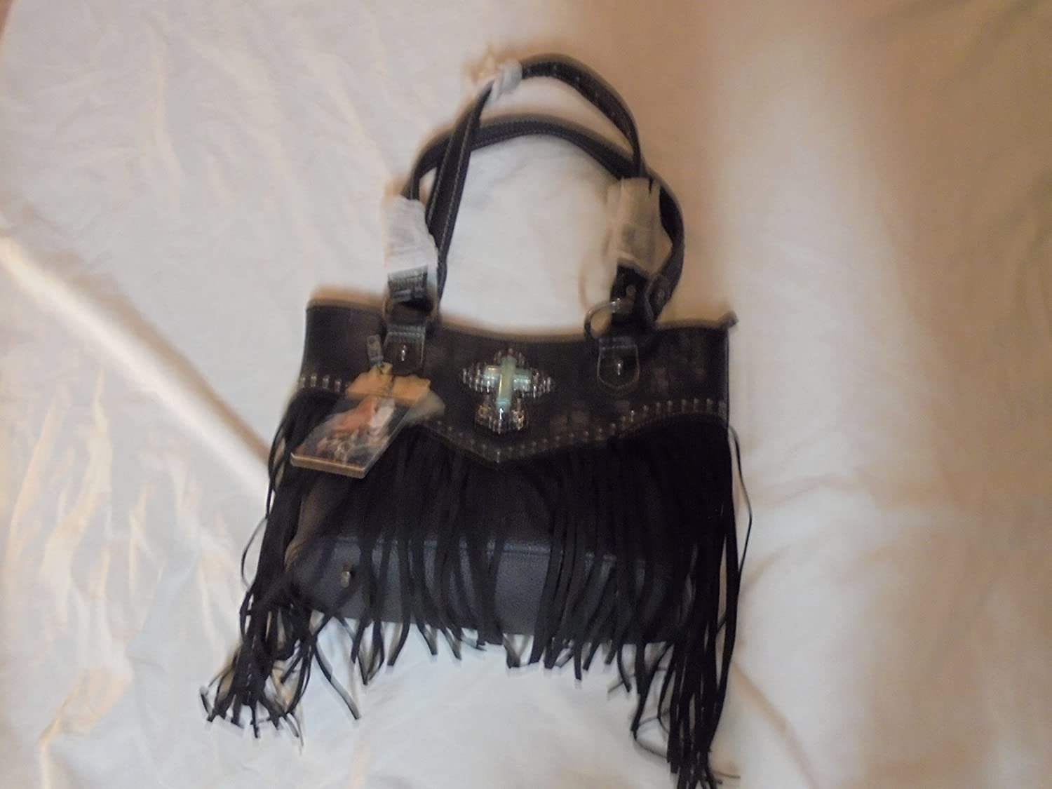 Womans Beautiful Black With Terquoise Cross Shoulder Bag Purse with Black Fringe Decor