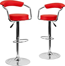 Flash Furniture 2 Pk. Contemporary Red Vinyl Adjustable Height Barstool with Arms and Chrome Base