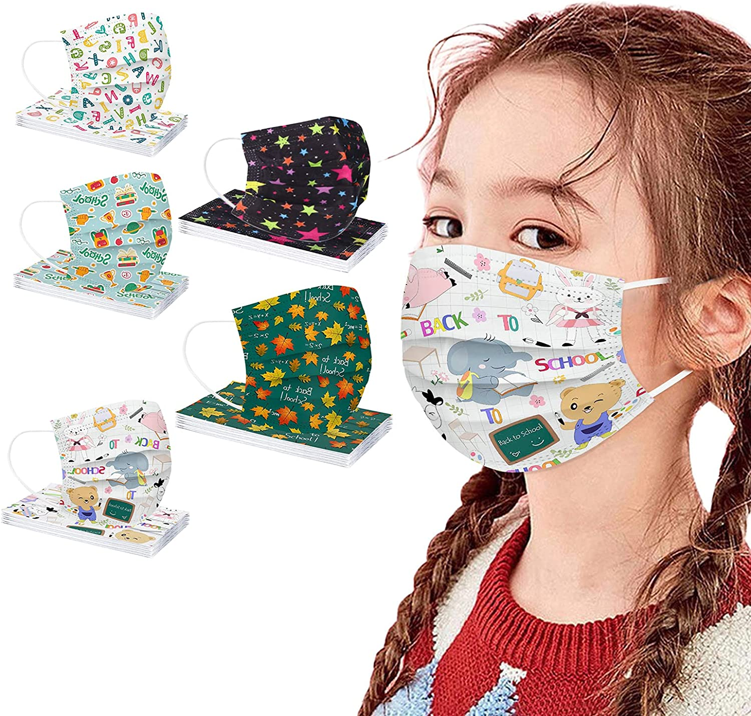 50 New life Pack Inventory cleanup selling sale Kids Disposable Colorful Dye Print Lay Face_Masks 3 with
