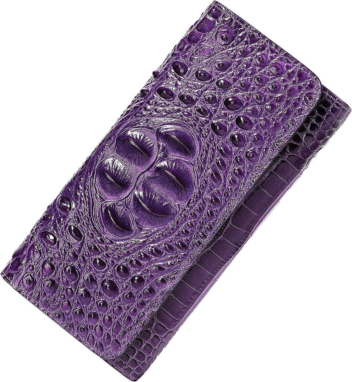 PIJUSHI Women Leather Wallet Washington Mall Crocodile Max 79% OFF Ca Clutch Embossed