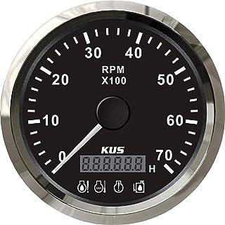 KUS   Drehzahlmesser mit digitalem Betriebsstundenzähler 7000RPM für Aussenborder, schwarzes Display mit Edelstahl Lünette