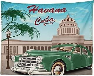 Lunarable Havana Tapestry, Retro Design of El Capitolio with Nostalgic Car Under Palm Tree, Fabric Wall Hanging Decor for Bedroom Living Room Dorm, 28