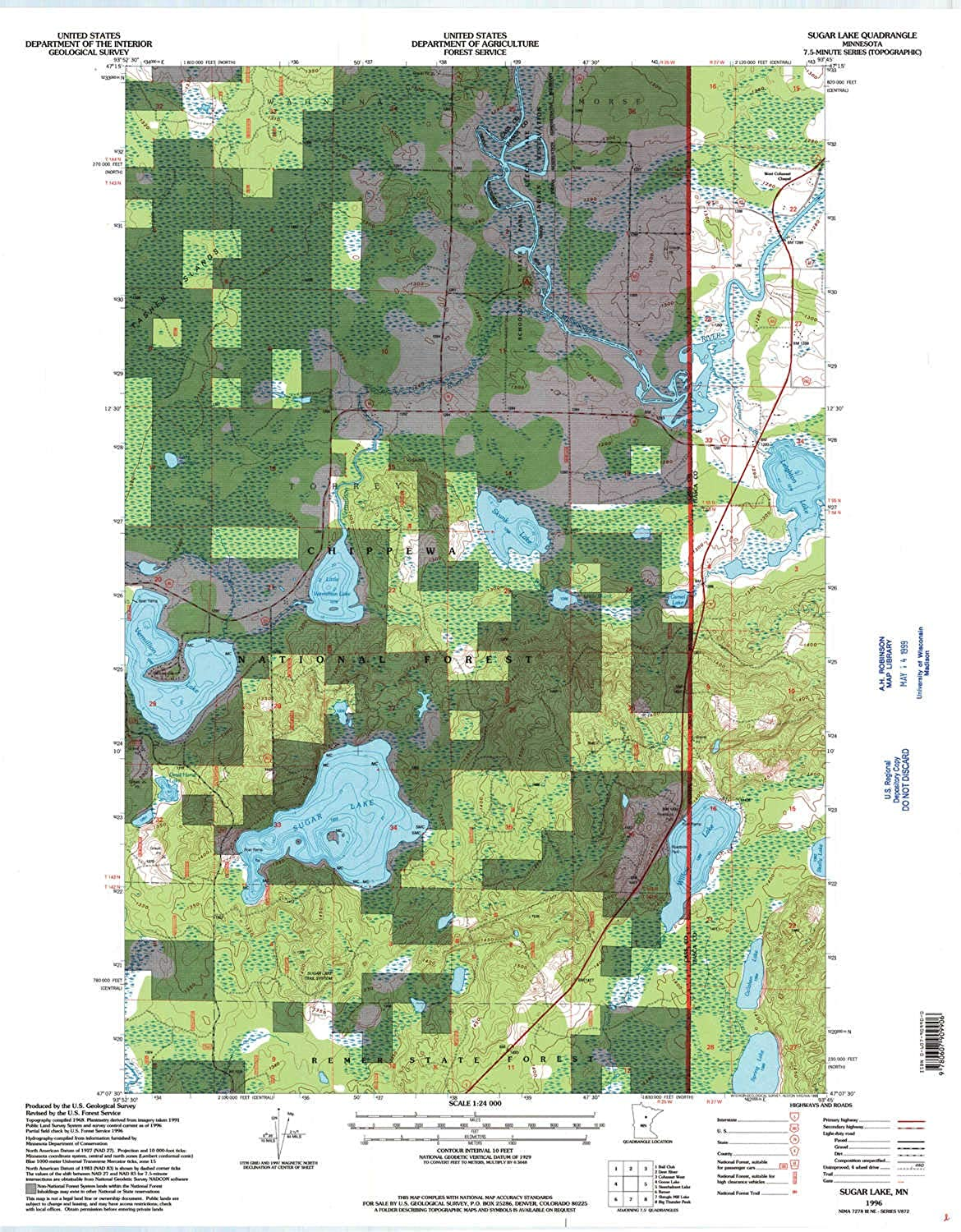 Sugar Lake MN topo map, 1 24000 Scale, 7.5 X 7.5 Minute, Historical, 1996, Updated 1998, 27.23 x 21.53 in