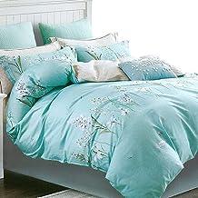 Essina Full/Queen Duvet Cover Set 3pc Valencia Collection, Cotton 620 Thread Count, Reversible Duvet Cover, Pillow Sham, S...