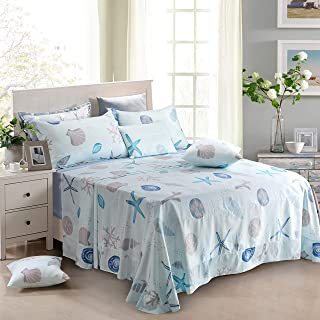 FADFAY Sheet Set Twin XL Nautical Beachy Coastal Bedding 100% Cotton Super Soft Hypoallergenic Deep Pocket Fitted Sheet 4-Pieces Twin XL Size for Dorm Room