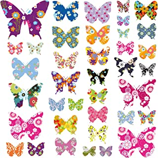 DECOWALL DW-1201 38 Colourful Flower Butterflies Kids Wall Decals Wall Stickers Peel and Stick Removable Wall Decals for Kids Nursery Bedroom Living Room