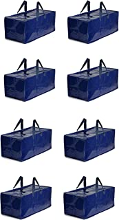 Earthwise Heavy Duty Extra Large Storage Bag Moving Tote Backpack Carrying Handles & Zipper Compatible with IKEA Frakta Hand Carts Wardrobe Boxes Packing Supplies Alternative to Moving Boxes (8 Pack)