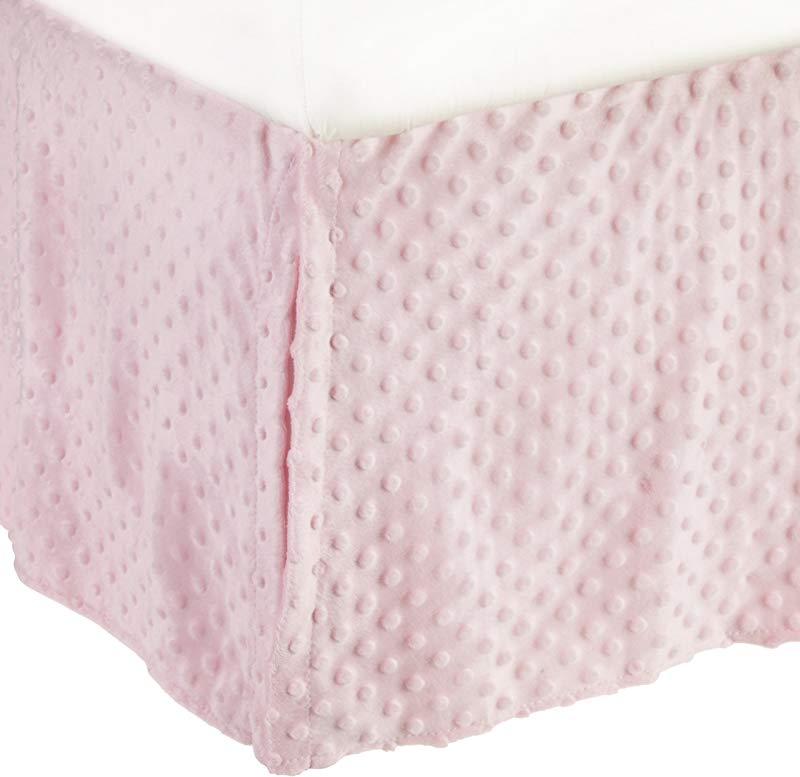 American Baby Company Heavenly Soft Minky Dot Tailored Crib Skirt Pink For Girls