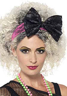Smiffys 80s Black & Pink Lace Headband,Pink / Black,One Size