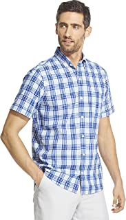 Men's Slim Fit Saltwater Dockside Chambray Short Sleeve Button Down Plaid Shirt
