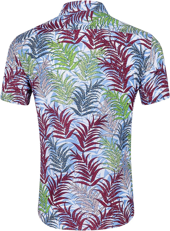 Moxiu 100% Cotton Regular Fit Short Sleeve Casual Hawaiian Shirt for Men Button Down Printed Shirts