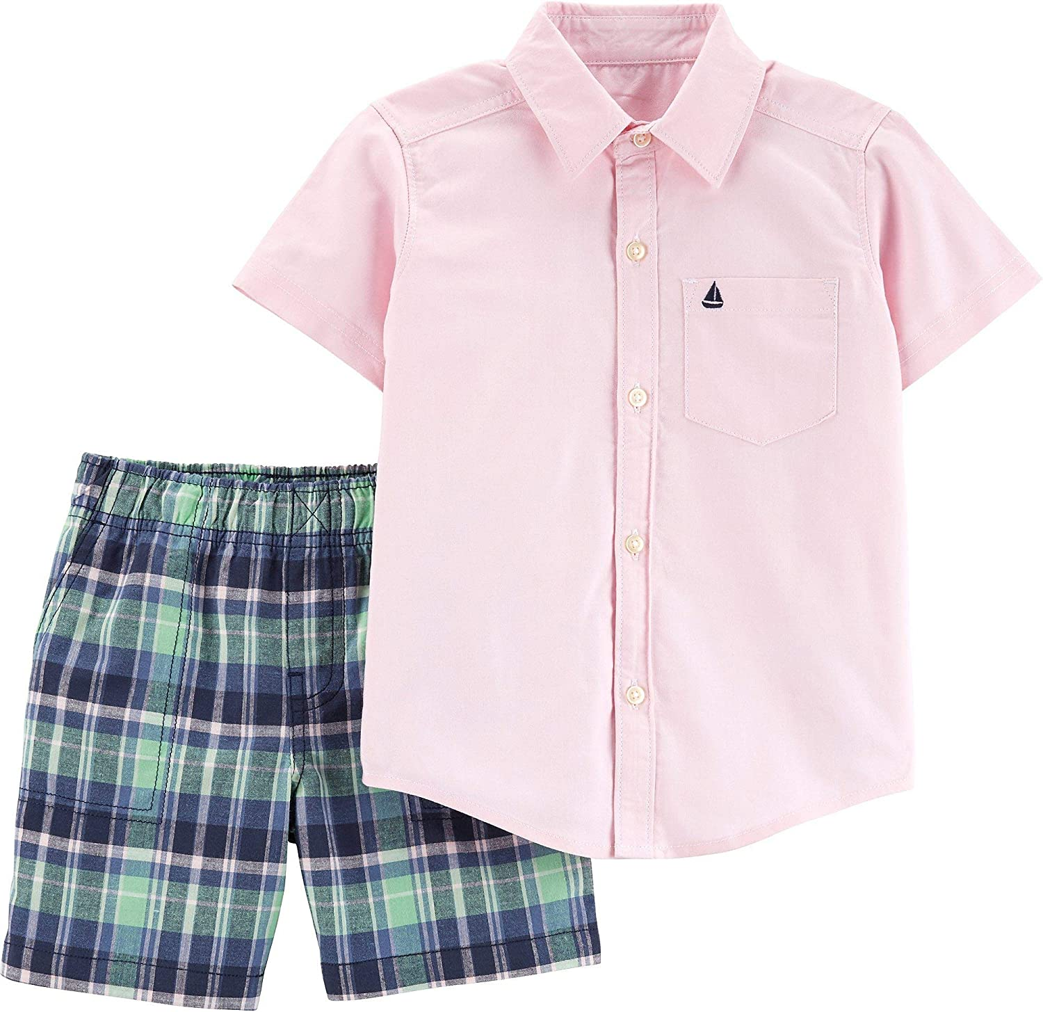 Carters Baby Boys Oxford Plaid Button Down Shorts Set 3 Month Pink/Green/Blue