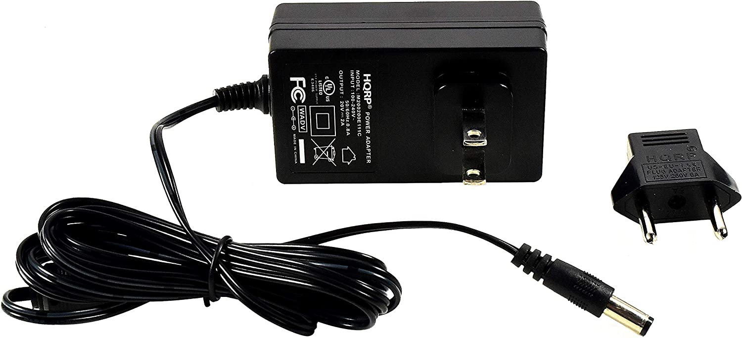 HQRP 20V AC Adapter works with Bose SoundLink I II III Wireless Mobile Bluetooth Speaker, Sound-Link 1 2 3, 343641-1310 17817548656 404600 Power Supply Cord Sound Link 414255 UL Listed + HQRP Euro Plug Adapter