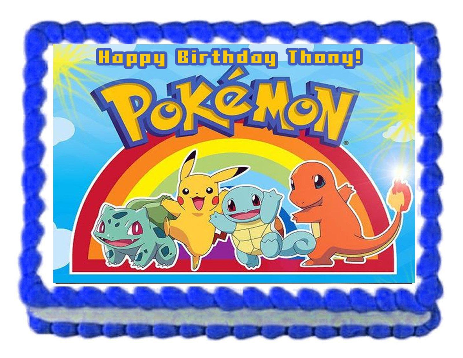 Brilliant Amazon Com Pokemon Pikachu Birthday Party Edible Image Cake Funny Birthday Cards Online Eattedamsfinfo