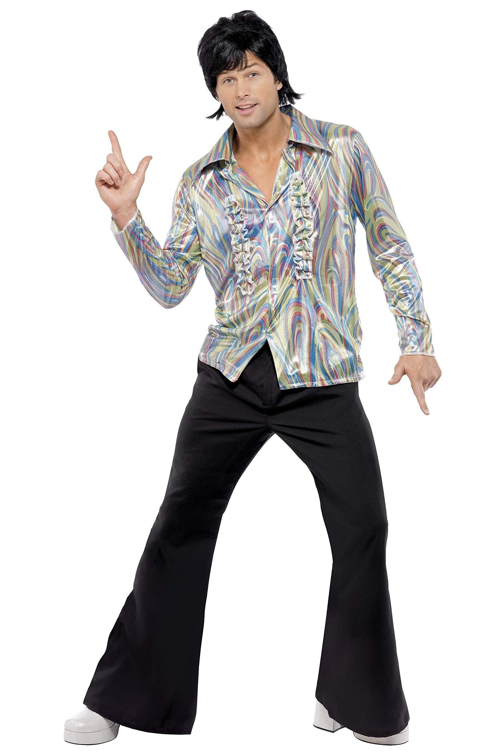 Smiffys-33841XL Disfraz Retro de los 70, con Estampado psicodélico, Camisa y Pantalones de Campana, Color Negro, XL - Tamaño 46