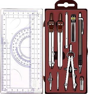 کیت هندسه ریاضی 13 قطعه مجموعه قطب نما قطب نما هندسه ابزار دقیق مجموعه دایره ابزار نقاشی خط کش برای معماران مهندسین دانش آموزان (قهوه ای)