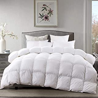 AIKOFUL Goose Down Comforter King Size,Solid White Duvet Insert,White Goose Down Comforter, 1200TC 700Fill Power Cotton Fabric, Double Edge Gray Piping