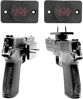 MIJIG 2 Pack Magnetic Gun Holders Soft Rubber Coated 25 Pounds Gun Magnets for Handguns, Rifles, Shotguns, Pistols, Revolvers & Magazines, Easy Install Gun Holster Clip for Rapid Draw