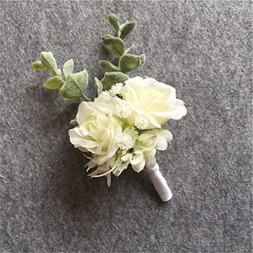 WeddingBobDIY Artificial Flower Groom Boutonniere Buttonholes Groomsman Best Man Pin Wedding Flowers Accessories Prom Suit Decoration White