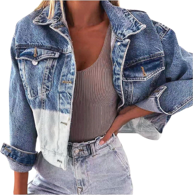 DVCB Women Halloween Retro Denim Jacket Oversize Loose Coat Casual Button Down Pockets Colorblock Top