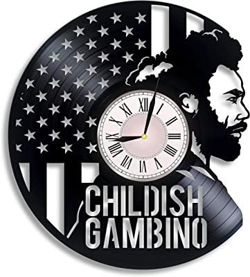 Childish Gambino Vinyl Record Wall Clock, mcDJ, Donald McKinley Glover Jr, Childish Gambino Artwork, Childish Gambino Gift, Childish Gambino Clock, Wall Decor, GIF for Music Lover