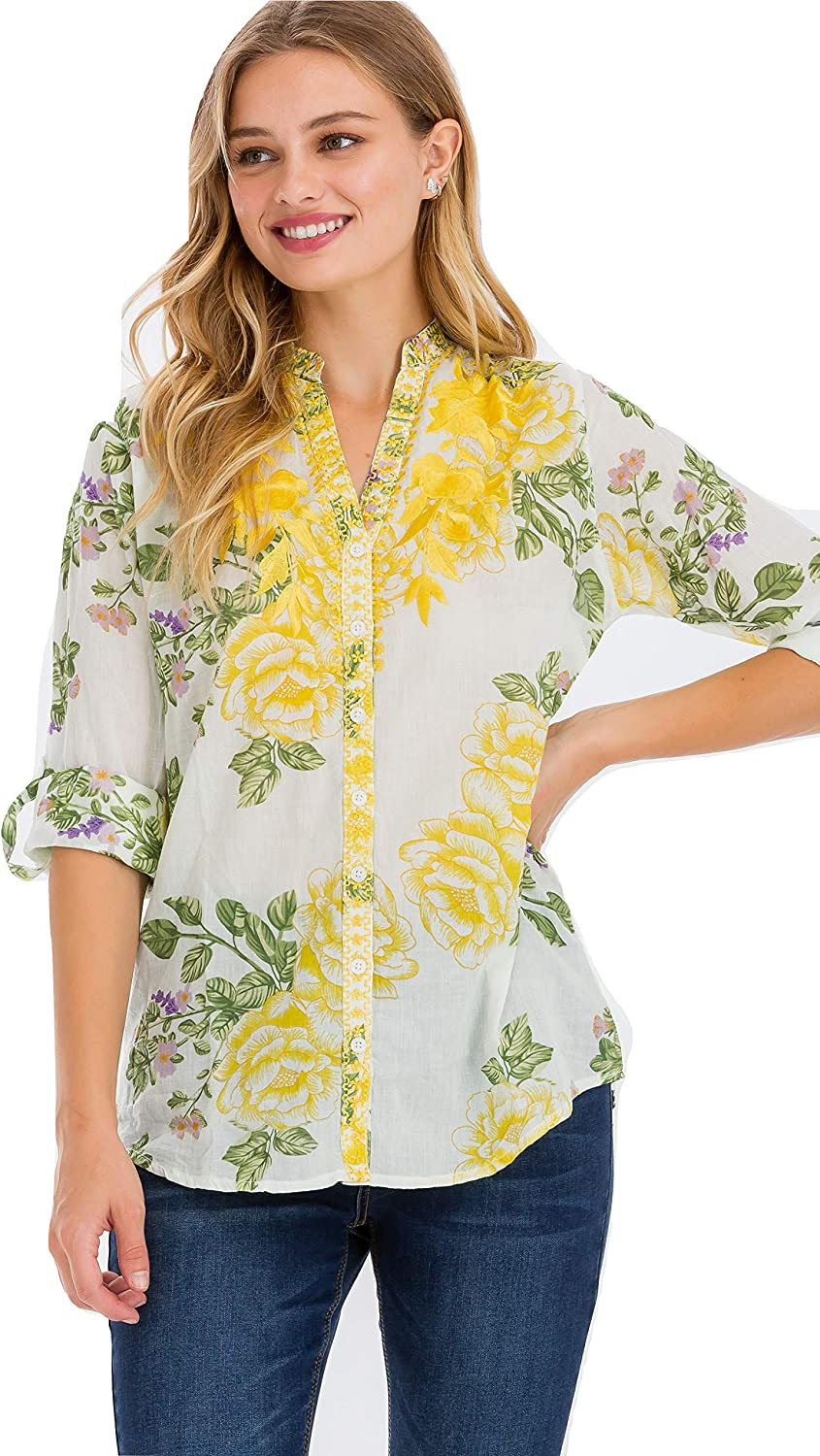 CLUTCH BAZAAR White Floral Button-Down Blouse with Yellow Embroidery