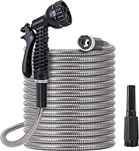 Metal water Hose 25 ft - Stainless Steel Water Hose with 2 Nozzles, Lightweight, Tangle Free & Kink Free, Heavy Duty, High Pressure, Flexible, Dog Proof, Outdoor Portable