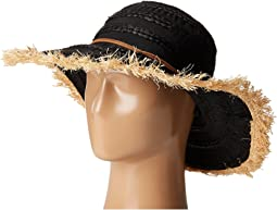 RBL4789 Ribbon Hat with Raffia Sun Brim Frayed Edge