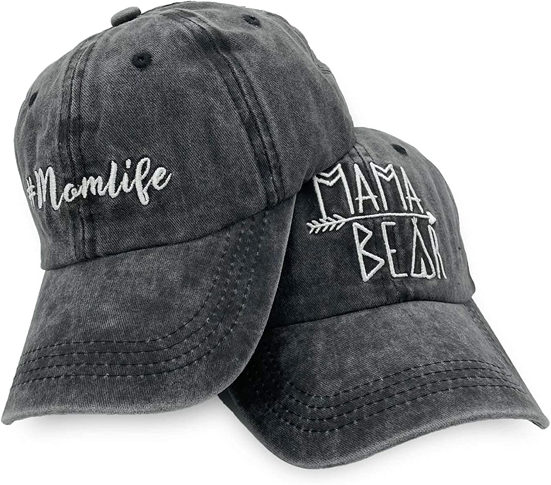 Waldeal 2 Pack Women's Embroidered Baseball Hat for Mom Adjustable Vintage Washed Baseball Cap