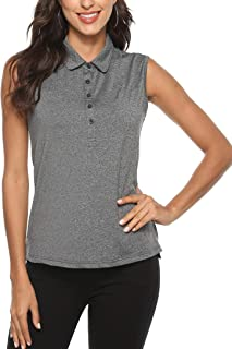 AjezMax Women's Golf Sleeveless Polo Quick-Drying Sports Shirts