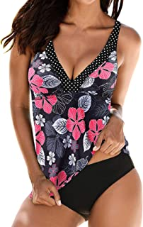 Women's V Neck Swimsuits Tankini Set Printed Tops with Bottom Push Up Tummy Control Two Piece Bathing Suits Plus Size