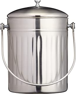 KitchenCraft Large Food Waste Bin, Stainless Steel, 5 Litre