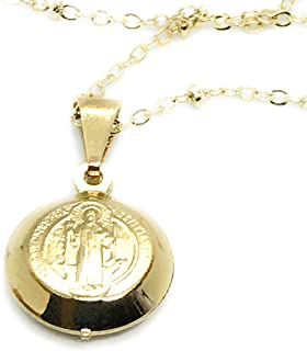 LESLIE BOULES San Benito Necklace 18.5 Inches Dainty Medal 18K Gold Plated