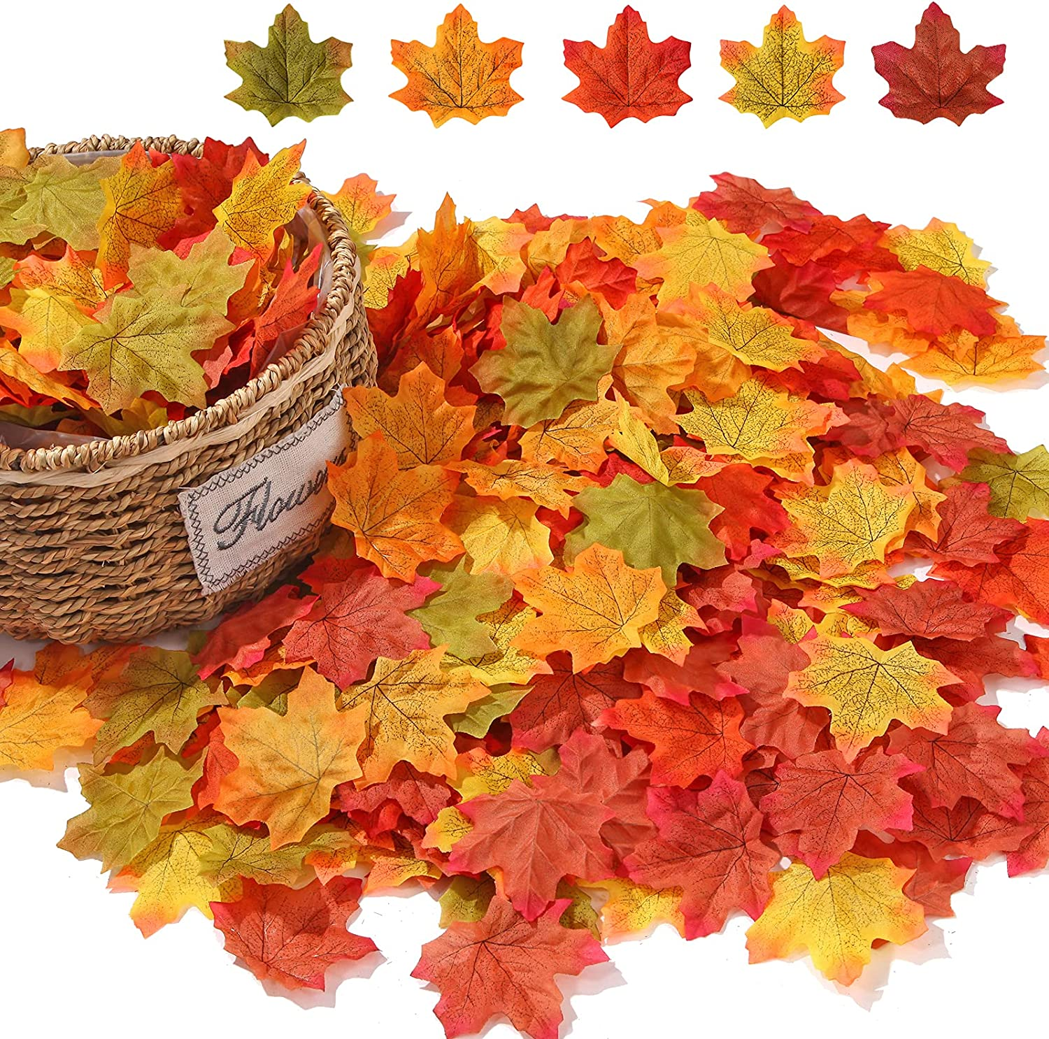 Momkids 500 Pcs Fall Artificial Maple Leaves Fake Autumn Leaf for Home Bedroom Kitchen Restaurant Centerpieces Festival Party DIY Decorative(5 Colored Mixed)