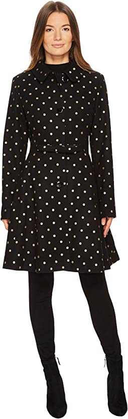 Kate Spade New York - Wool Novelties Glitter Polka Dot Peacoat