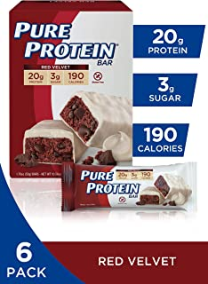 Pure Protein Bars, High Protein, Nutritious Snacks to Support Energy, Low Sugar, Gluten Free, Red Velvet, 1.76 oz, 6 Count